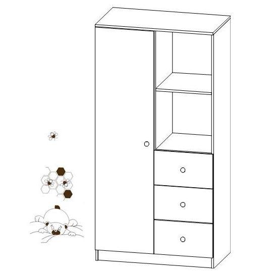 Kombinovaná šatní skříň Faktum MIA Bílá/motiv Medvídek