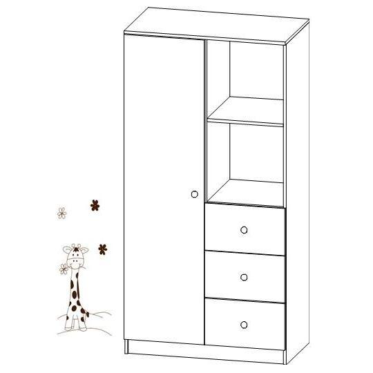 Kombinovaná šatní skříň Faktum MIA Bílá/motiv Žirafa