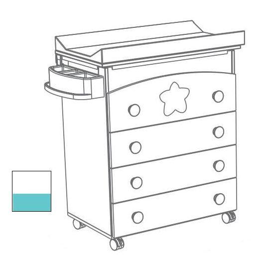 Přebalovací komoda Trama BIG STAR White/Turquoise s vaničkou
