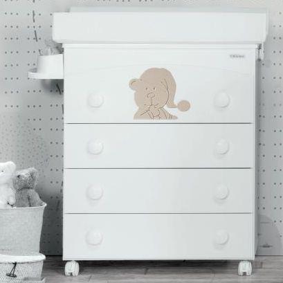 Přebalovací komoda Trama SLEEPY BEAR White/Light Earth s vaničkou