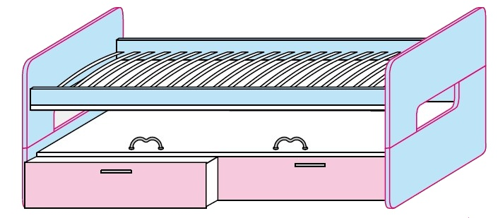 Výsuvné postele Colombini GOLF 2ks s dvěma zásuvkami