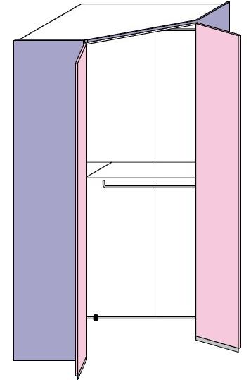 Rohová šatní skříň Colombini GOLF dvoudvéřová
