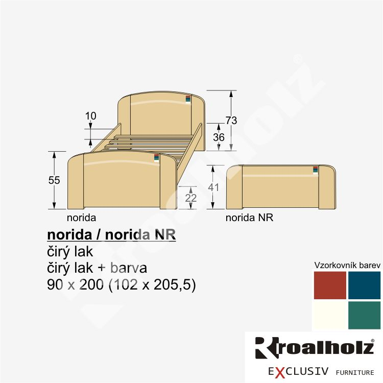 Postel Roalholz Norida NR 90 x 200 cm