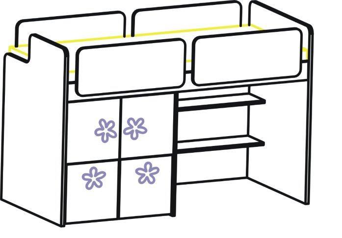 Postel zvýšená levá 90 x 200 cm bez odkládací police
