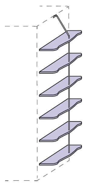 Policový systém Colombini ARCADIA na bok skříně