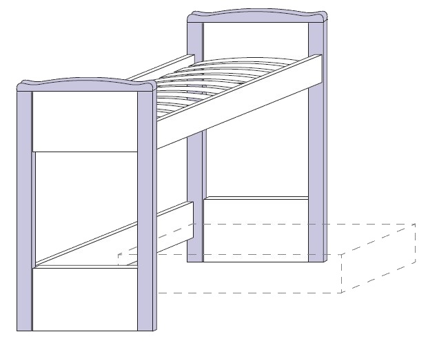 Konstrukce horní postele Colombini ARCADIA