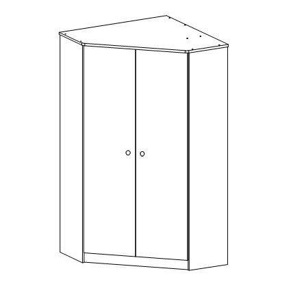 Rohová šatní skříň Faktum MIA Bílá/bez motivu