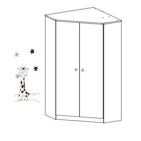 Rohová šatní skříň Faktum MIA Bílá/motiv Žirafa