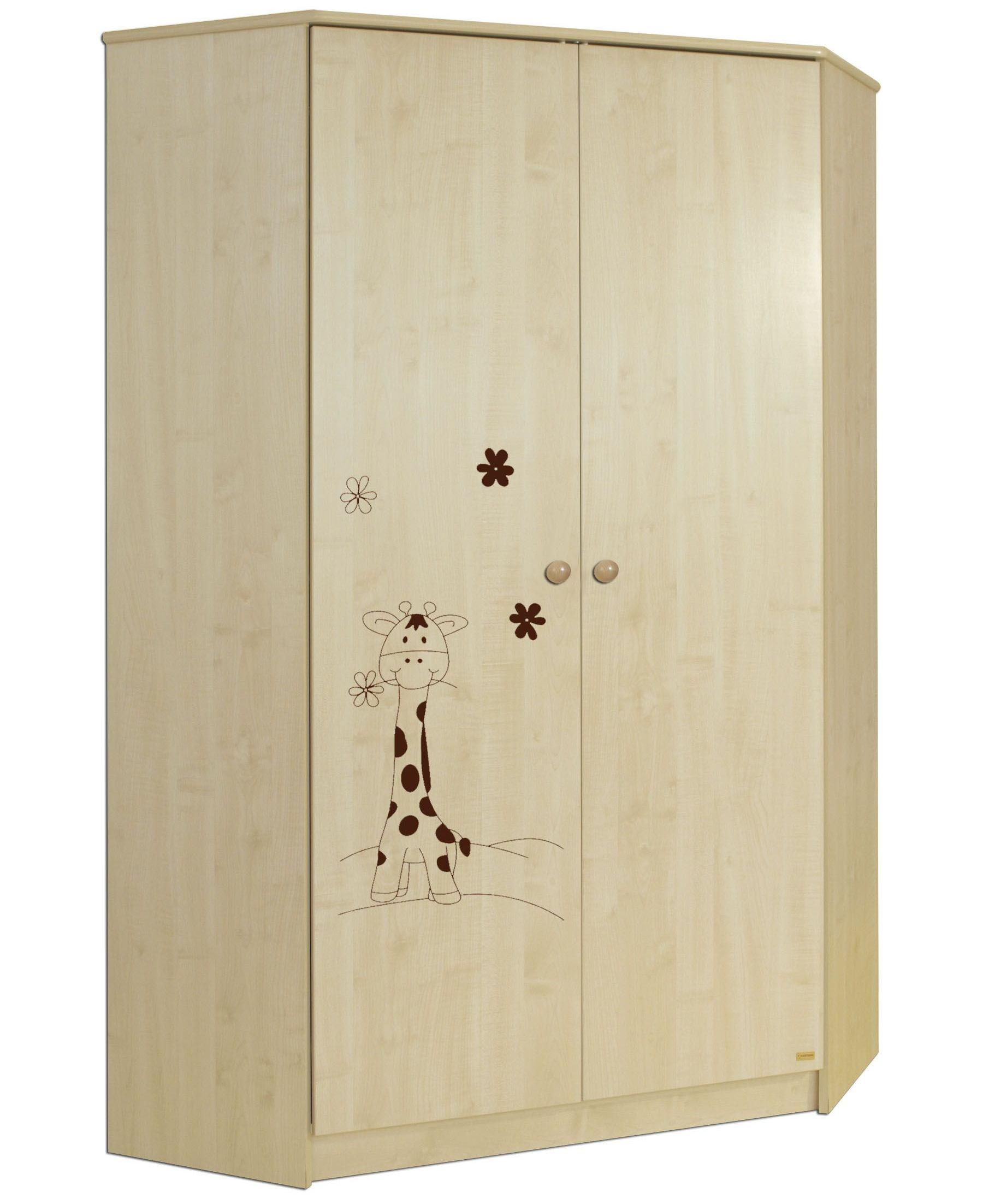 Rohová šatní skříň Faktum MIA Javor/motiv Žirafa