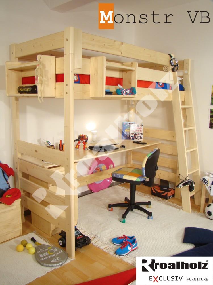 Rozkládací palanda / patrová postel Roalholz Monstr VB s pracovní deskou
