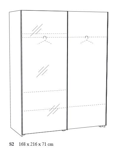 Šatní skříň NEYT Ula 168 cm