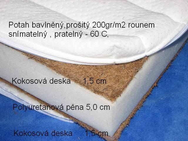 Kokosová matrace s PUR pěnou 120x60 oboustranná  (výška 8 cm)