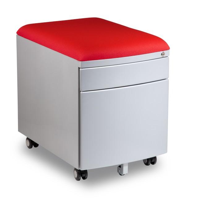 Kontejner k psacímu stolu Mayer PROFI3 červený čalouněný