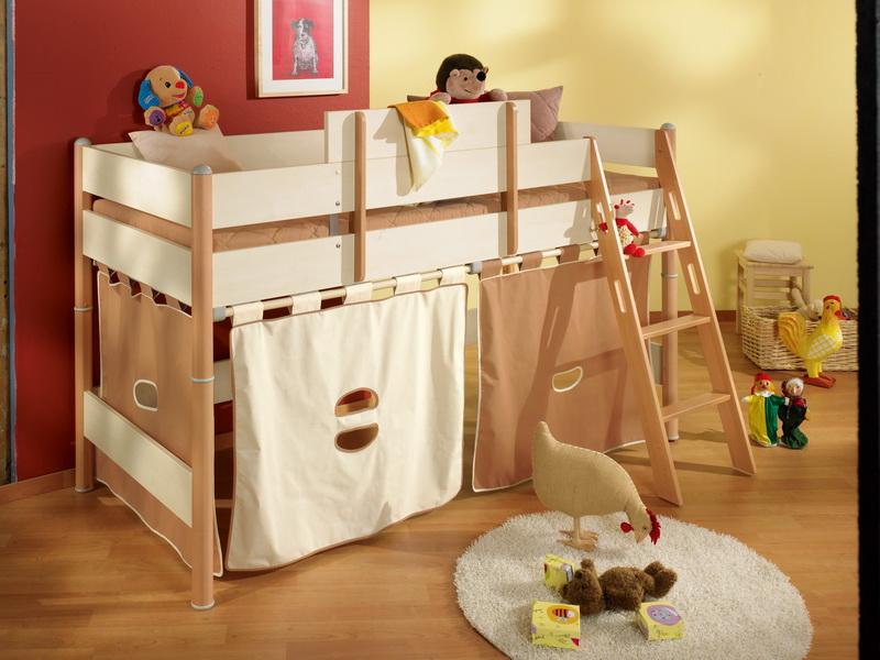 Zvýšená postel 125 cm Paidi ONDO s šikmým žebříkem