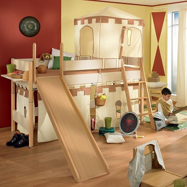 Zvýšená postel 125 cm Paidi ONDO s šikmým žebříkem a skluzavkou