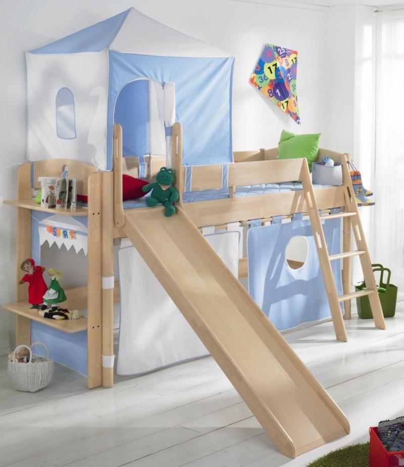 Zvýšená postel Paidi FLEXIMO s šikmým žebříkem a skluzavkou