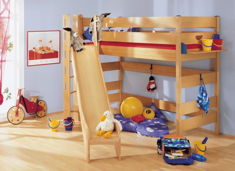 Zvýšená postel 155 cm Paidi VARIETTA s věží a skluzavkou