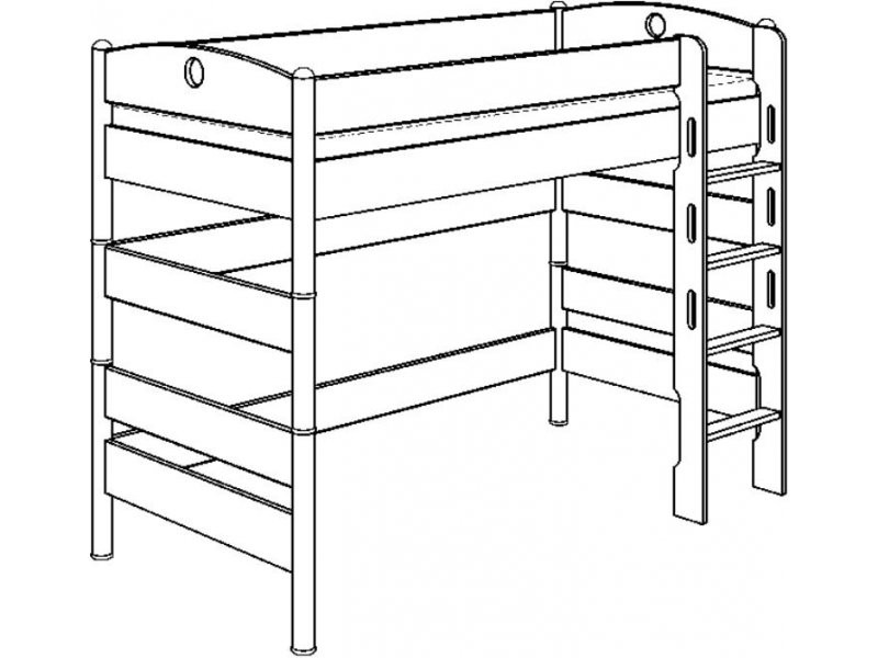 Zvýšená postel Paidi FLEXIMO s rovným žebříkem