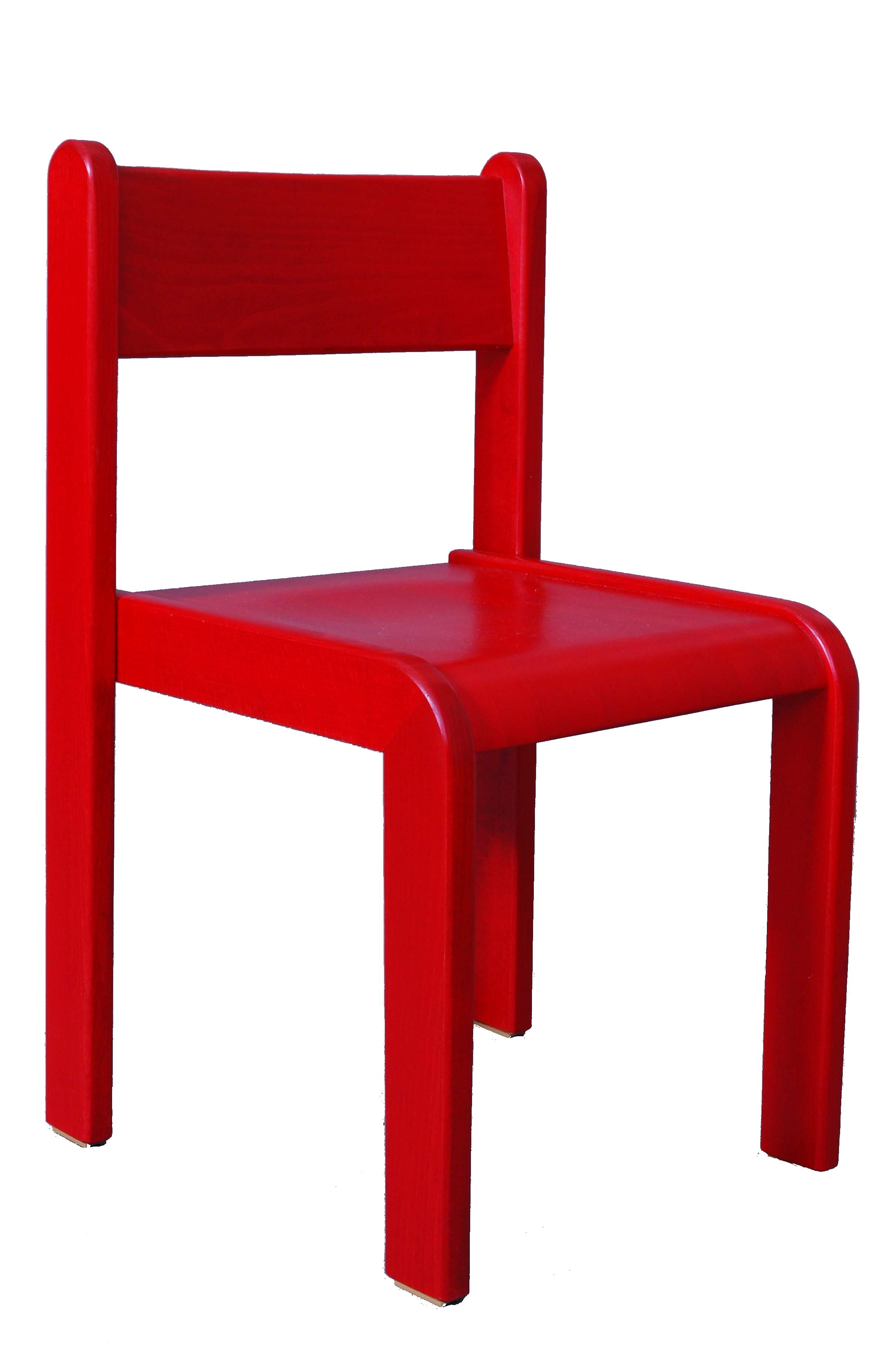 Dětská židlička bez područky 18 cm DE mořená - červená