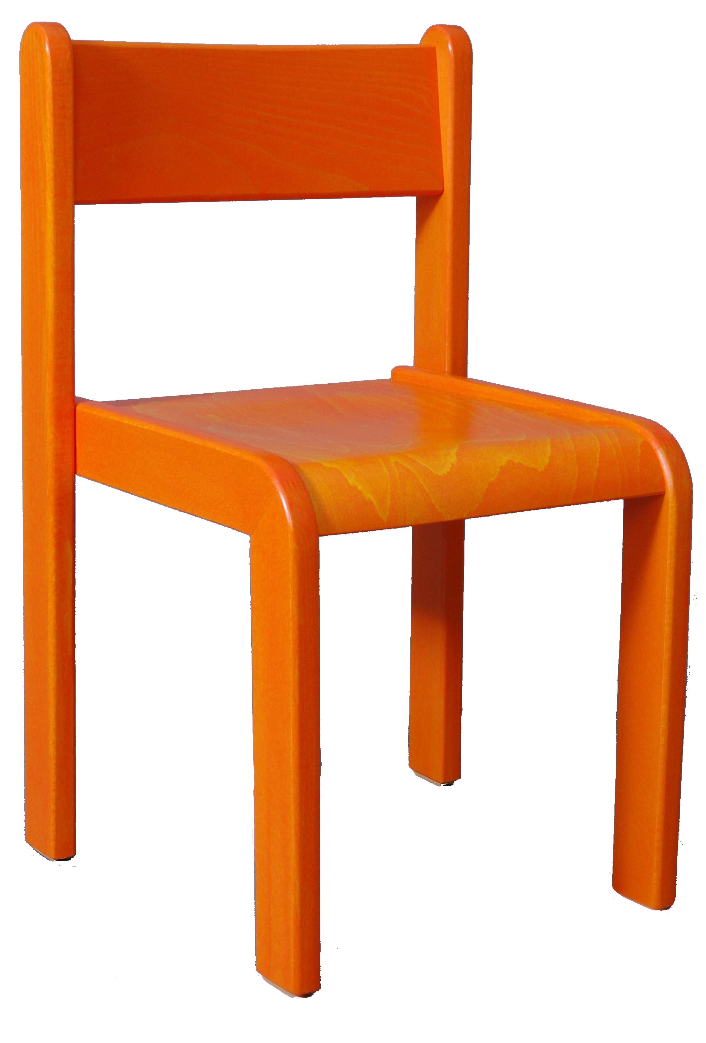 Dětská židlička bez područky 18 cm DE mořená - oranžová