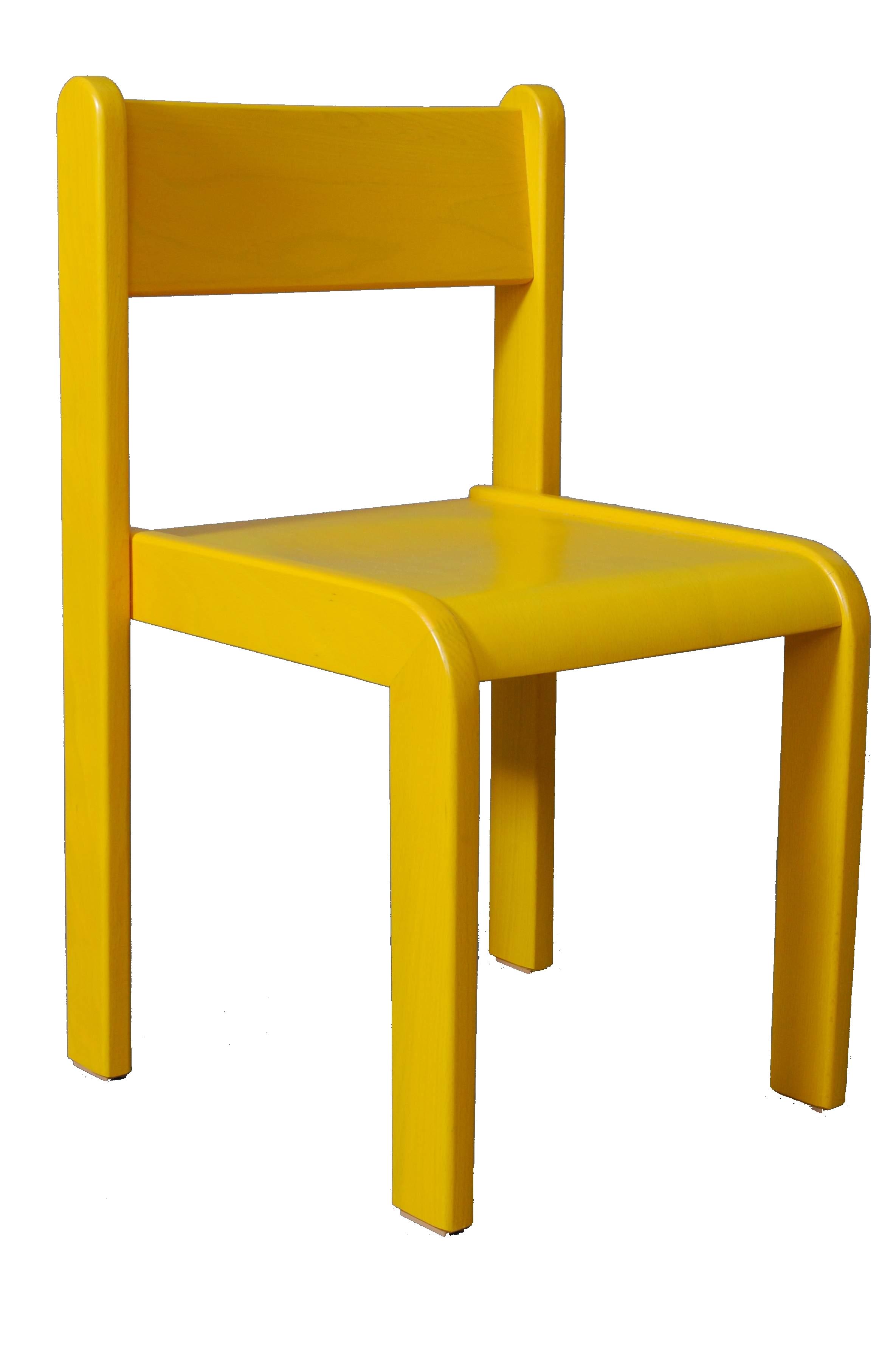 Dětská židlička bez područky 18 cm DE mořená - žlutá